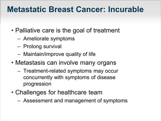breast cancer and palliative care issues Women diagnosed and treated for metastatic breast cancer face many of the same issues as breast cancer breast palliative care for metastatic breast cancer.