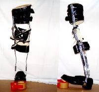 Double upright metal knee-ankle-foot orthosis.