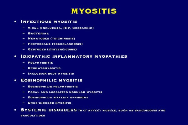 Forms of myositis. Fasciitis may be added to this...