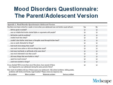 Mood disorder questionnaire-adolescent version (mdq-a)